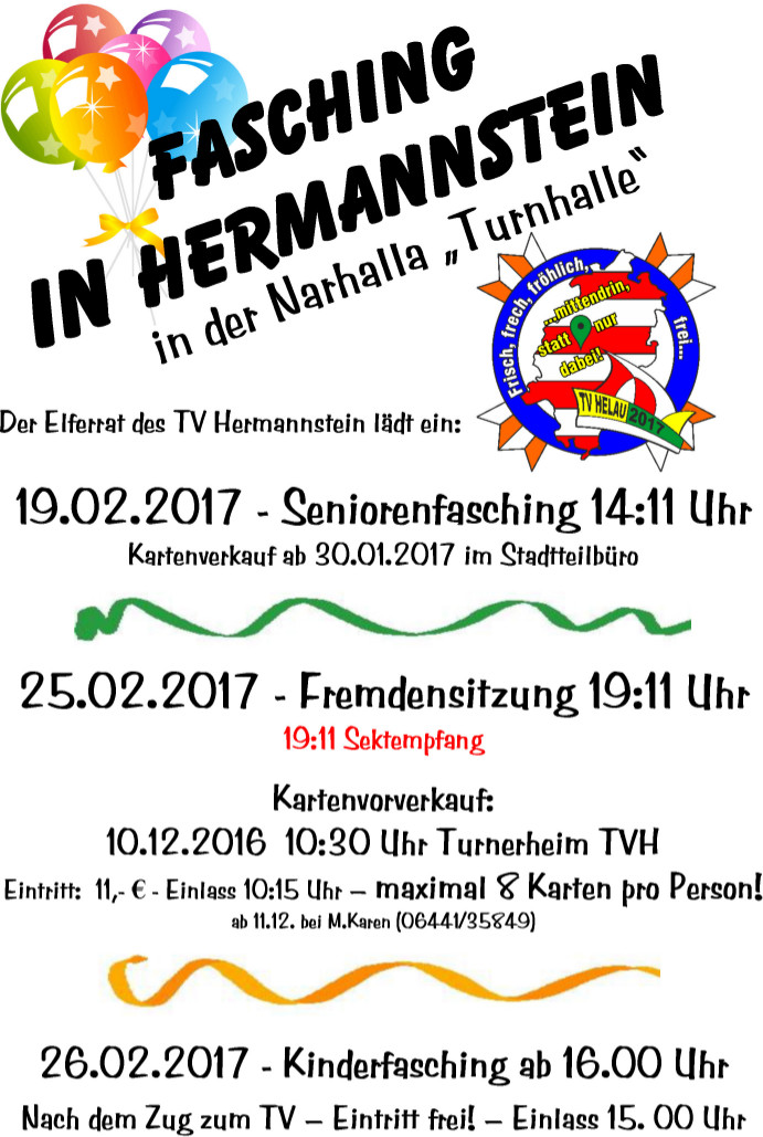 Seniorenfasching in Hermannstein 2017