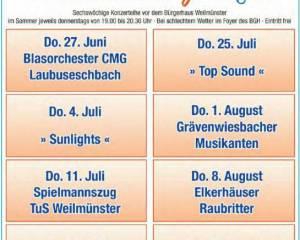 Rathaus-Konzerte vor dem Bürgerhaus Weilmünster