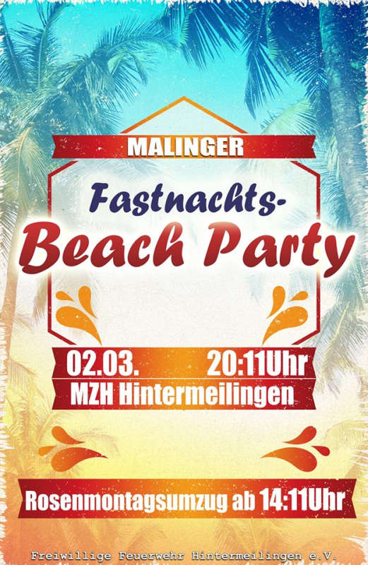 Malinger Fastnachts Beach Party